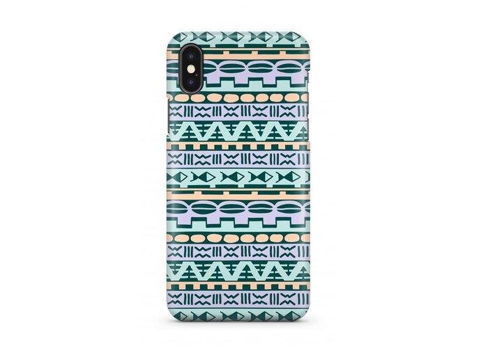 iPhone XS - Slim Case - Pistachio Blue Geometric Aztec Tribal Pattern