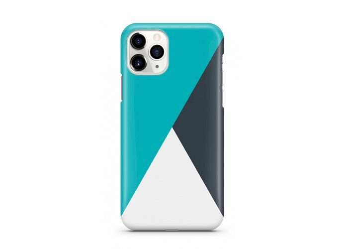 iPhone 11 Pro-Slim Case - Electric Mint With Grease Black Triangle Cut Stripes Pattern