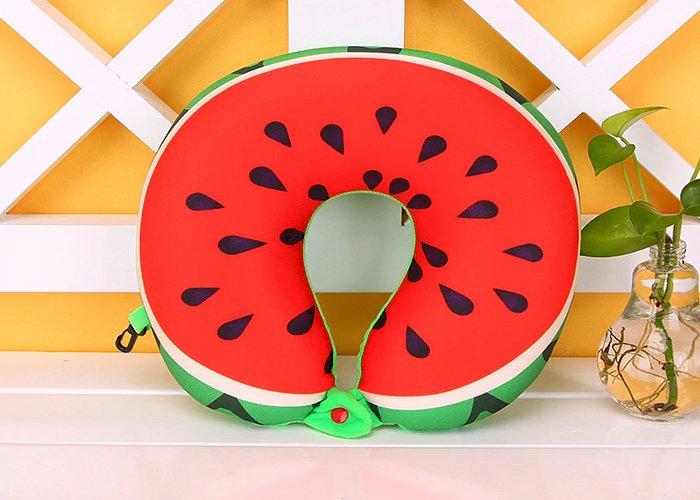 HazyBeauty U Shape Memory Foam Pillow Plane Fruits Watermelon Shape Traveling Airplane Pillow U-shape Neck Pillows 28x30cm