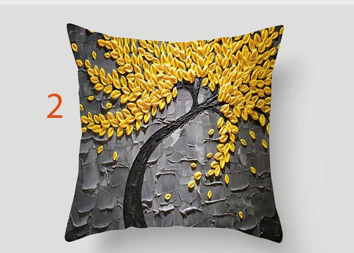 Nordic Style Oil Painting 45*45cm Cushion Cover Polyester Sofa Throw Pillow Car Home Decoration Decorative Pillowcase