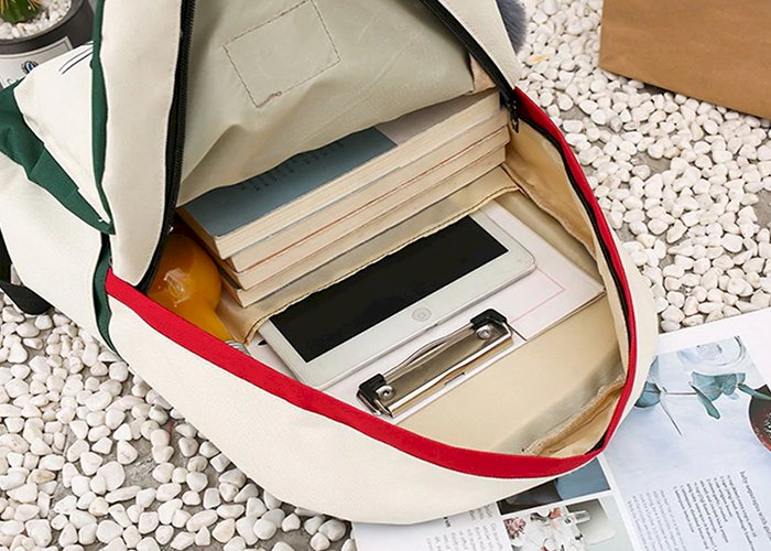 4Pcs/Set Panelled Women Backpack Canvas Cat Pattern School Bag For Girl Patchwork Backpack Female Shoulder Bag WLHB2065