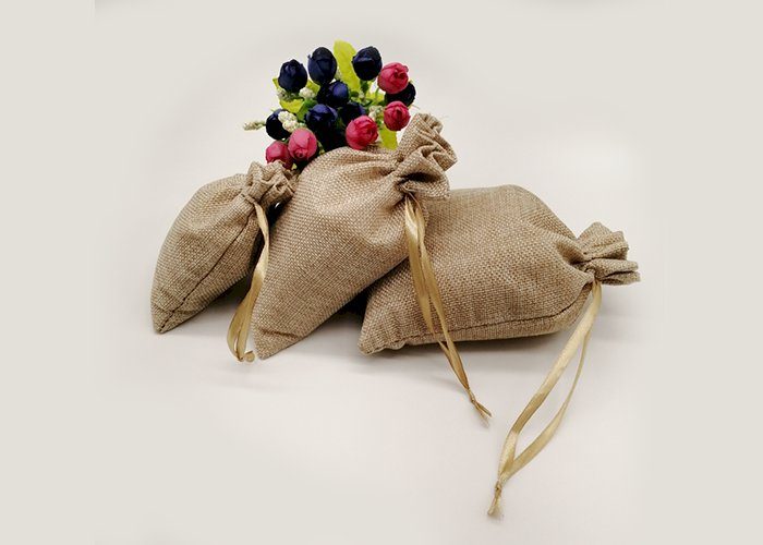 Silk Ribbon Jute Bag Sack Drawstring Bag Small Jewelry Bags Pouch for Jewelry Packaging Display Wedding Christmas Gift Bag