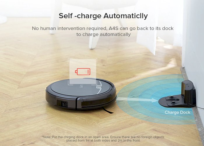 A4s Robot Vacuum Cleaner Powerful Suction for Thin Carpet & Hard Floor Large Dustbin Miniroom Function Automatic Recharge