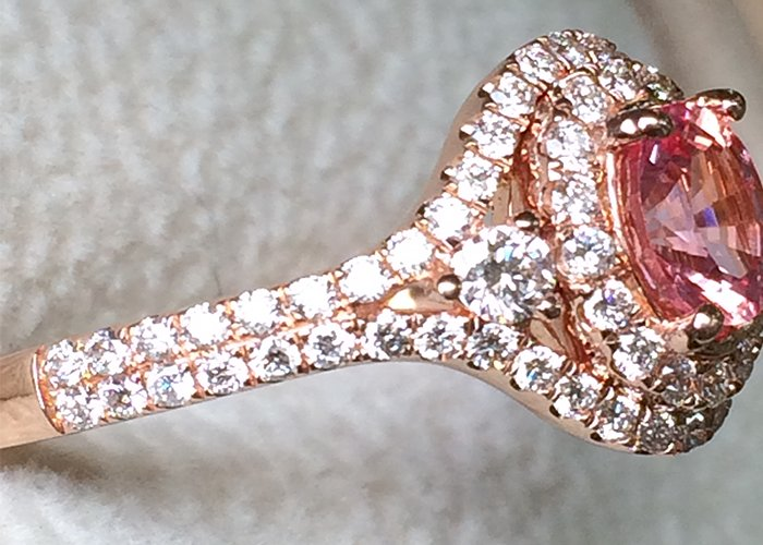 Extremely Rare Natural Unheated Padparadscha Sapphire with 18Kt Rose Gold and Diamonds ring ,Special gift